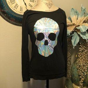 Pink Hologram skull long sleeve Tee In Black